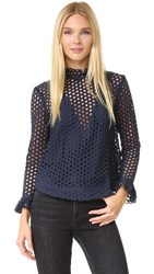 Sea Hole Punch Lace Top Navy
