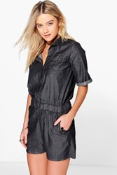 Boohoo Short Sleeved Casual Fit Denim Playsuit Black