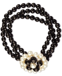 Macy's Cultured Freshwater Pearl 3.5 6Mm And Black Onyx 100 Ct. T.W. 3 Row Flower Bracelet In 14K Gold Plated Sterling Silver