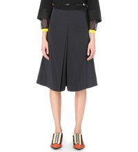 Toga Fishnet Panel Pleated Culottes Navy
