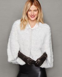 The Fur Vault Knitted Mink Fur Cape White