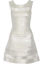 Herve Leger Dominica Cutout Metallic Bandange Mini Dress Silver