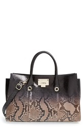 Jimmy Choo 'Riley Degrade' Genuine Python Tote Black Ballet Pink