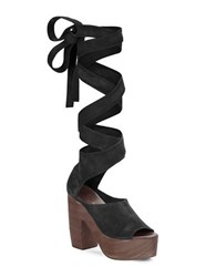 Free People Suede Lace Up Platform Sandals Black