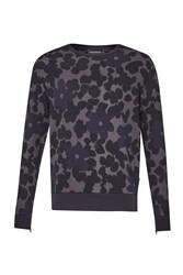 French Connection Men's Big Bucky Floral Printed Sweatshirt Blue