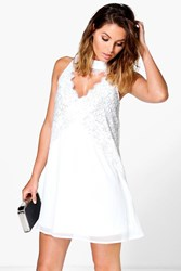 Boohoo Flo High Neck Lace Front Swing Dress Ivory