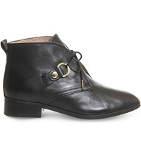 Office Larkin Lace Up Leather Ankle Boots Black Leather