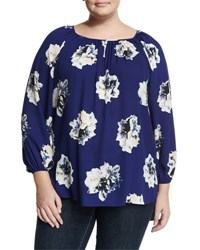 Vince Camuto Long Sleeve Floral Print Blouse Night Tide