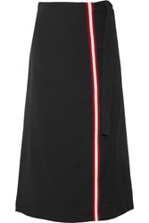 Maje Cotton Jersey Trimmed Crepe Wrap Skirt Black