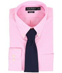 Lauren Ralph Lauren Ni Poplin Check Stretch Classic Button Down Pocket Shirt Classic Rose White Men's Long Sleeve Button Up Pink