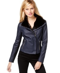 Inc International Concepts Faux Fur Trim Moto Jacket Only At Macy's