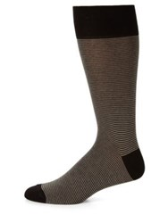 Saks Fifth Avenue Striped Cotton Blend Dress Socks Black Beige Light Grey Light Beige Navy Brown