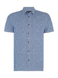Label Lab Men's Aden Printed Floral Denim Shirt Blue