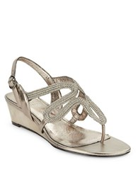 Adrianna Papell Carli Textured Leather Sandal Wedges Silver