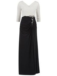 Gina Bacconi Long Jersey Dress With Contrast Ruching Black White