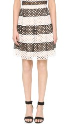 English Factory Stripe Eyelet Skirt Black White