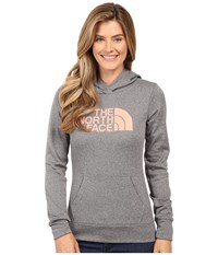 The North Face Fave Pullover Hoodie Tnf Medium Grey Heather Feather Orange Women's Sweatshirt Gray