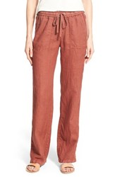 Women's Caslon Drawstring Linen Pants Brown Mahogany