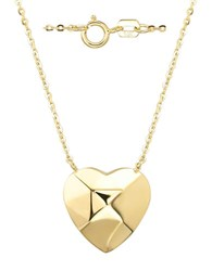 Lord And Taylor 14Kt Yellow Gold Puffed Heart Pendant Necklace
