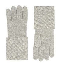 William Sharp Crystal Embellished Gloves Light Grey