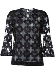 Fendi Floral Embroidered Tulle Blouse Black