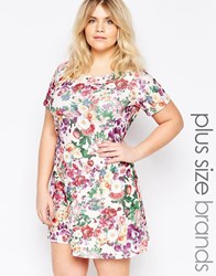 Praslin Plus Size Skater Dress In Floral Print Cream Floral