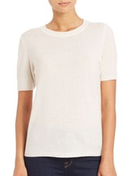 Saks Fifth Avenue Wool And Cashmere Lace Panel Sweater White Black