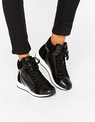 Aldo Metallic Detail High Top Trainers Black