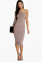 Boohoo One Shoulder Cut Out Side Midi Dress Grey