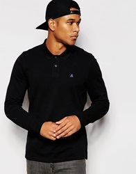 Asos Long Sleeve Pique Polo With Triangle Embroidery Black