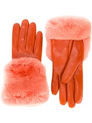 Gala Rabbit Fur Cuff With Silk Lining Gloves Yellow And Orange