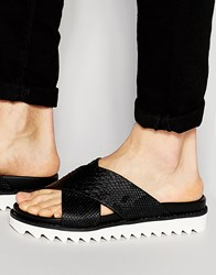 Asos Slide Sandals With Black Snakeskin Effect Black