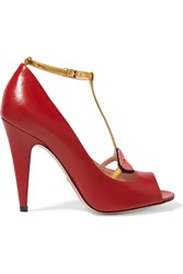 Gucci Lip Appliqued Leather T Bar Sandals Red