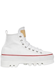 Dsquared Platform Cotton Canvas High Top Sneakers White
