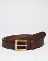 Asos Leather Belt With Emboss Brown