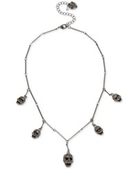 Betsey Johnson Hematite Tone Pave Skull Station Statement Necklace Black