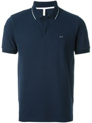 Sun 68 Collar And Sleeve Trim Detail 'Small Righe' Polo Shirt Blue