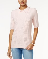 Tommy Hilfiger Hanna Cable Knit Sweater Only At Macy's Crystal Pink