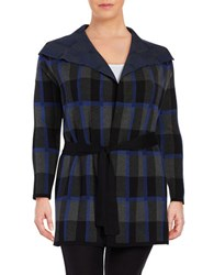 Context Plus Foldover Lapel Checkered Jacket Black Blue Multi