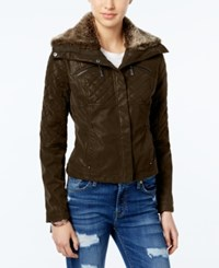 Joujou Jou Jou Faux Leather Bomber Jacket Brown