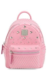 Mcm 'X Mini Stark Bebe Boo' Studded Leather Backpack Pink Chateau Rose