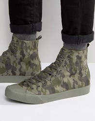 Asos Lace Up High Top Trainers In Green Faux Suede Green