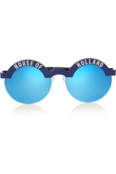 House Of Holland Brow Beater Round Frame Metal Mirrored Sunglasses