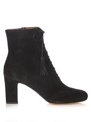 Tabitha Simmons Afton Lace Up Suede Ankle Boots Black