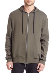 Public School Ollan Ruched Zup Hoodie Army Green