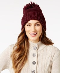 Bcbgeneration Thick And Thin Pom Pom Beanie Only At Macy's Wineberry