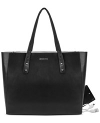 Kenneth Cole Reaction Heavy Metal Phone Charging Tote Black Silver