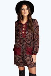 Boohoo Paisley Lace Up Shift Dress Chocolate