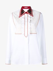 Miu Miu Rhinestone Embellished Collar Cotton Shirt White Stone Black Red