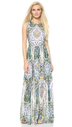 Msgm Long Silk Paisley Dress Kelly Green